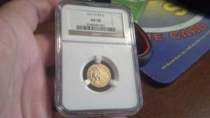 1911 D $2 1/2 Indian Quarter Eagle NGC AU 58